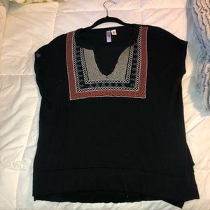 Boutique sweater material embroidered top